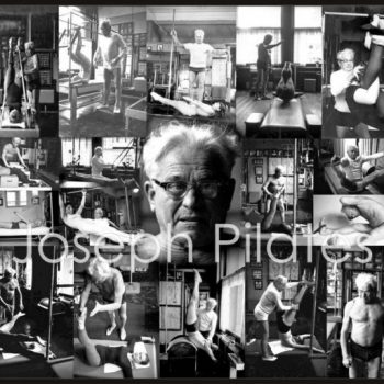 A collage of original photos of Joseph Pilates and his work